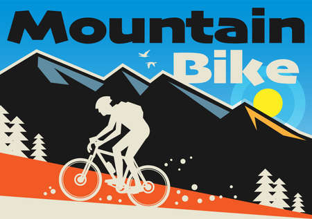 Downhill, mountain biking landscape with rider silhouette. Downhill, enduro, cross-country biking, vector illustration
