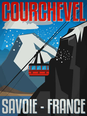 Courchevel is a French Alps ski resort. It is a part of Les Trois Vallées, the largest linked ski areas in the world, vector illustration