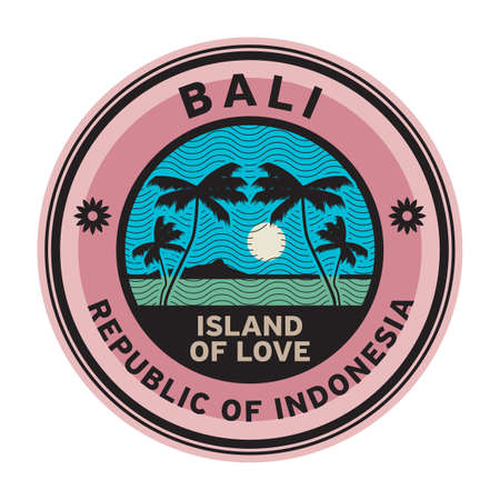 Stamp or label with the name of Bali Islands, vector illustration