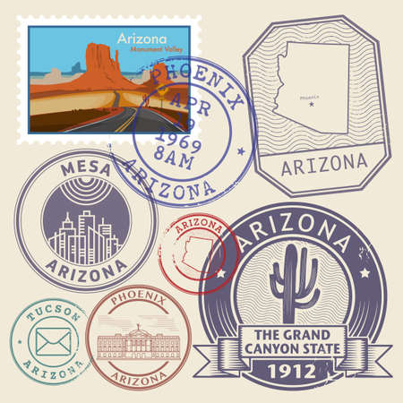 Stamps set with name of Arizona, The Grand Canyon State, vector illustration