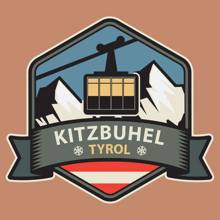 Kitzbuhel is a medieval town situated in the Kitzbuhel Alps along the river Kitzbuheler Ache in Tyrol, Austria. Vector illustration