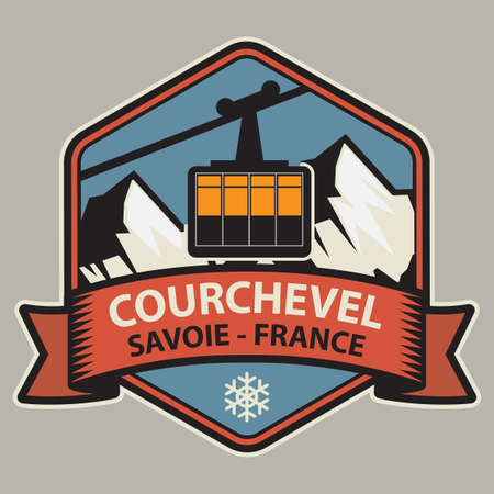 Courchevel is a French Alps ski resort. It is a part of Les Trois Vallees, the largest linked ski areas in the world. Vector illustration