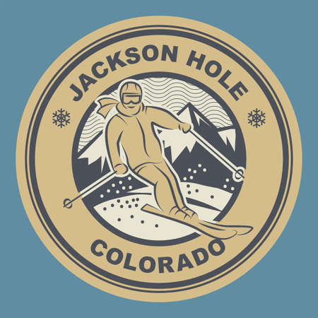 The Jackson Hole Mountain Resort is a ski resort in the western United States, at Teton Village, Wyoming. Vector illustration Иллюстрация