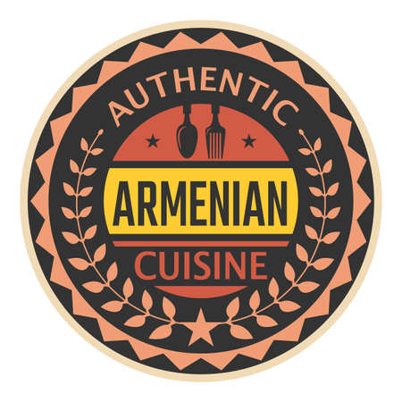 Abstract stamp or label with the text Authentic Armenian Cuisine written inside, vector illustration