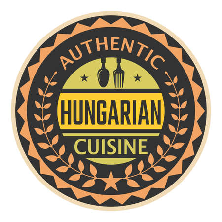 Abstract stamp or label with the text Authentic Hungarian Cuisine written inside, vector illustration