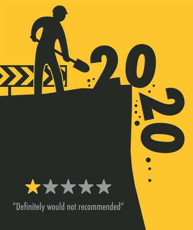 Road works at construction site, Happy New Year 2020, 2021 card, vector illustration