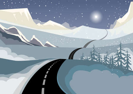 Hilly country roads, covered with black ice & snow, Winter landscape, abstract vector illustration Иллюстрация