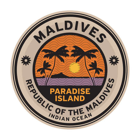 Stamp or label with the name of Maldives Islands, vector illustration