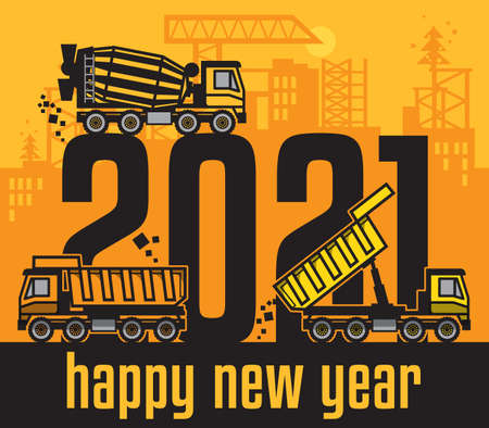 Industrial building construction machinery, Happy New Year 2021 card, vector illustration Иллюстрация