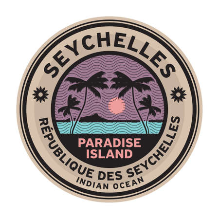 Stamp or label with the name of Seyshelles Islands, vector illustration