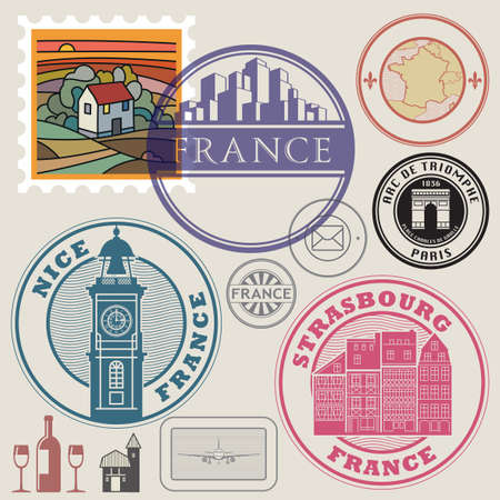 Travel stamps or labels set, France theme, vector illustration