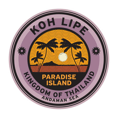 Stamp or label with the name of Koh Lipe Islands, vector illustration