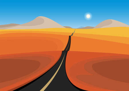 Landscape of Lonely road in sand dunes, abstract vector illustration Иллюстрация