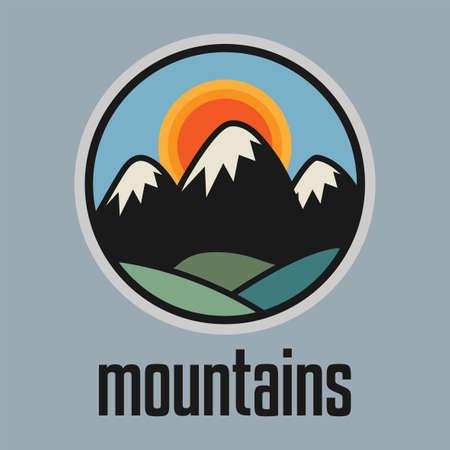 Mountain. Outdoor adventure badge sign or symbol. Graphic design element. Vector illustration