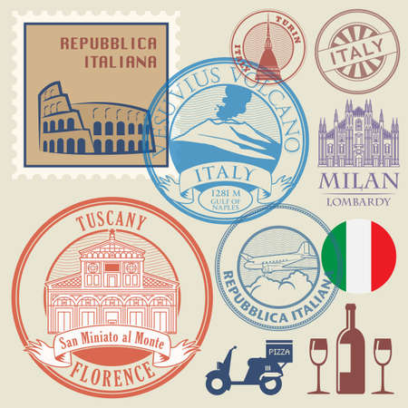 Abstract rubber stamps or icon symbols set, Italy theme, vector illustration