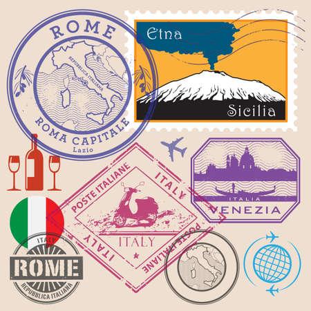 Travel stamps or icon symbols set, Italy theme, vector illustration Иллюстрация