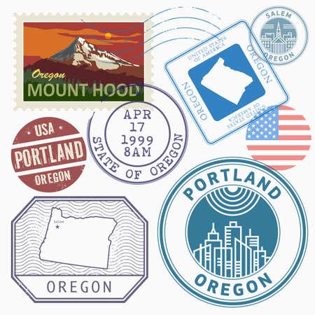 Retro postage stamps set, Oregon, United States theme, vector illustration Иллюстрация