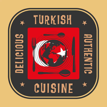 Abstract sign or label with the text Authentic Turkish Cuisine written inside, vector illustration