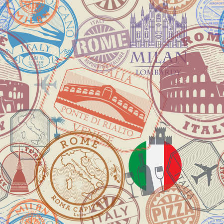 Seamless pattern with visa rubber stamps Italy theme, vector illustration Иллюстрация
