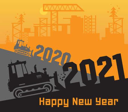 Bulldozer, Construction power machinery, Large bulldozer at the construction site, Happy New Year 2021 card, vector illustration