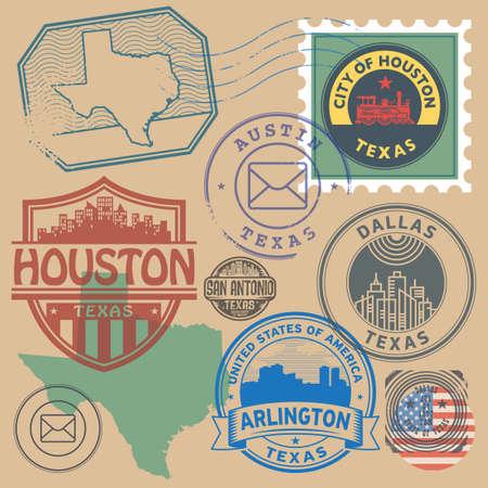 Retro postage stamps set, Texas, United States theme, vector illustration