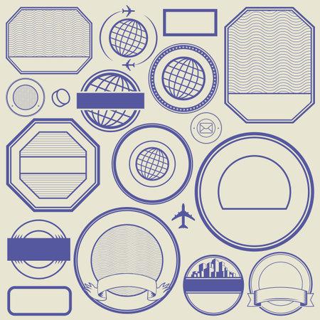 Set of rubber stamp, design template for text, vector illustration