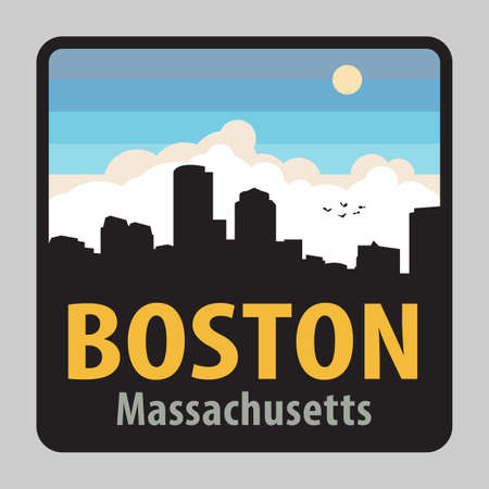 Label or sign with name of Boston, Massachusetts, USA, vector illustration
