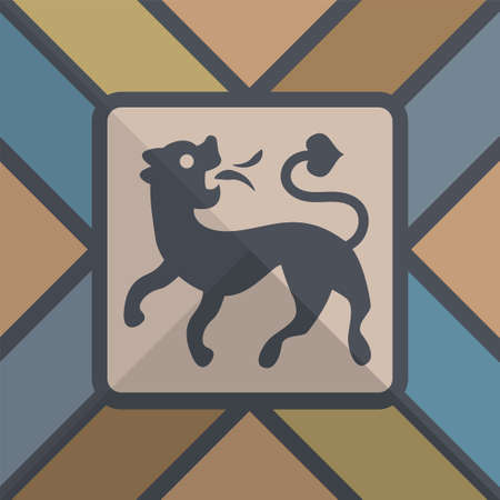 Hand drawn heraldic dog, Heraldry design element, vector illustration