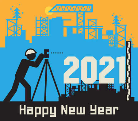 Surveyor conduct surveying at the construction site, Happy New Year 2020 card, vector illustration
