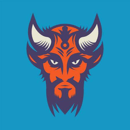 Red Devil head, vector illustration Иллюстрация