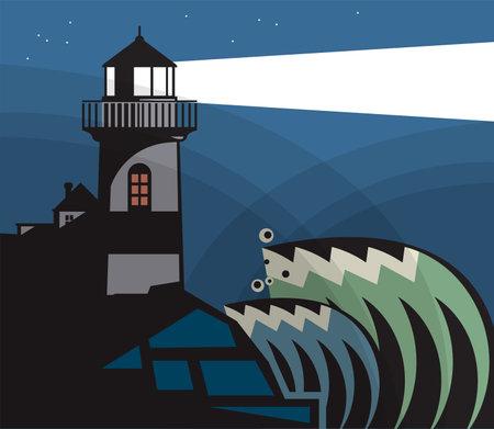 Lighthouse, Beacon, Lighthouse Stands on Rocks, vector Illustration