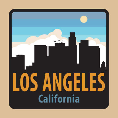 Label or sign with name of Los Angeles, California, USA, vector illustration Иллюстрация