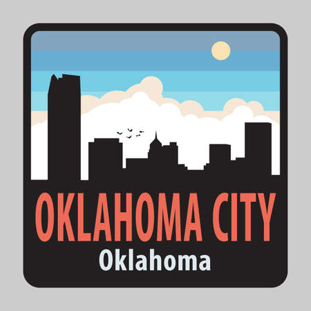 Label or sign with name of Oklahoma City, Oklahoma, USA, vector illustration