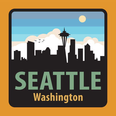 Label or sign with name of Seattle, Washington, USA, vector illustration