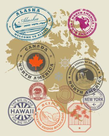 Travel stamps or symbols set - North America theme, vector illustration Иллюстрация