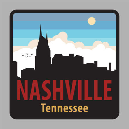 Label or sign with name of Nashville, Tennessee, USA, vector illustration Иллюстрация