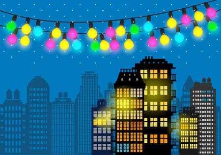 New year greeting card. City skyline at winter time. Vector illustration