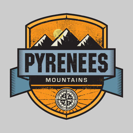 Vintage emblem with text Pyrenees Mountains, vector illustration