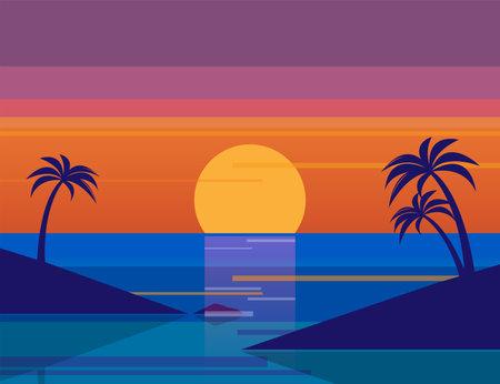 Summer landscape, sunset sea nature. Sea sunset landscape abstract vector illustration Иллюстрация