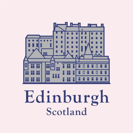 Edinburgh old town, and text Edinburgh, Scotland, Abstract vector illustration