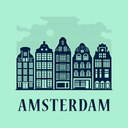Holland, Amsterdam, Old Town houses, abstract vector illustration