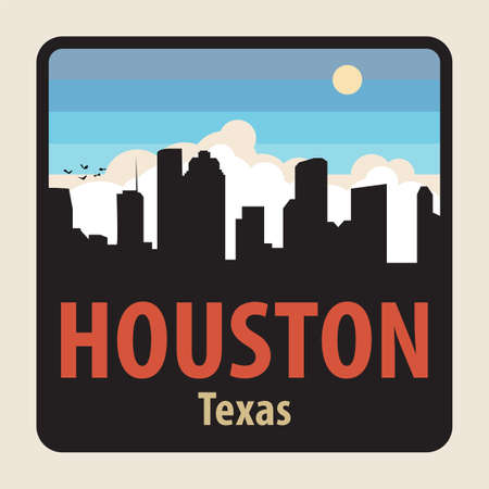 Label or sign with name of Houston, Texas, USA, vector illustration