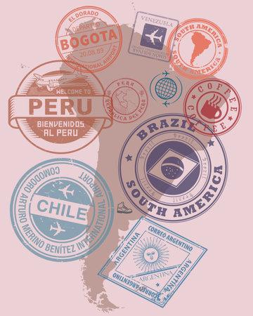 Travel stamps or symbols set - South America theme, vector illustration