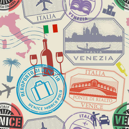 Seamless pattern, International business travel visa stamps or symbols set, Italy, Venice theme, vector illustration