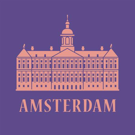 Holland, Amsterdam, abstract vector illustration
