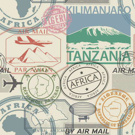 Seamless pattern with visa rubber stamps on passport with text Africa, Tanzania, Chad, Zimbabwe, egypt, immigration signs, airport travel, vector illustration