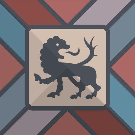 Hand drawn heraldic lion, Heraldry design element, vector illustration