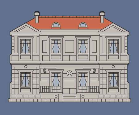 Vintage italian or french chateau house, vector illustration