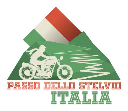 Stelvio Pass, Italy, vector illustration