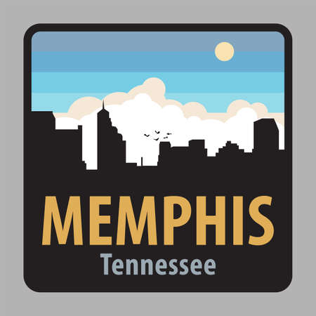 Label or sign with name of Memphis, Tennessee, USA, vector illustration Иллюстрация